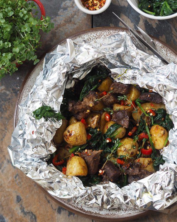 steak and baby potatoes